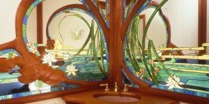 Detail of Lady in the Pond Stained Glass and Mirror and Carved Cherry Wood creation, residential powder room, Wakefield, Ma.