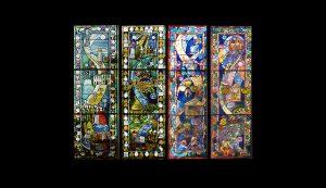 Temple Beth El, part of series of aisle windows, Belmont, Ma.