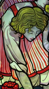 "Detail from ""Pinching Back Geraniums"" Window, Residence, Massachusetts"