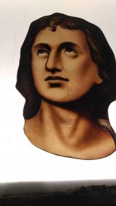 Detail of face under restoration, Cathedral of the Holy Cross, Boston, Ma.