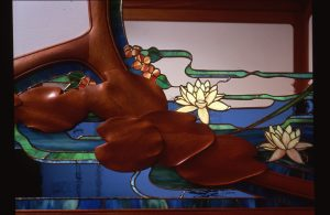 Detail, Lady in the Pond Stained Glass, Mirror, Cherry Woodwork, Residence, Wakefield, Ma