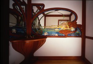 Lady in the Pond, Stained Glass, Mirror, Cherry Woodwork, Residence, Wakefield, Ma.