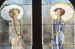 Detail, Ladies with Parasols Doorlites, Residence Wakefield, Ma.